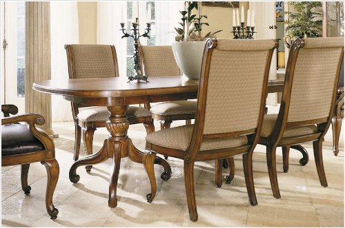 American Drew Bob Mackie Double Pedestal Formal Dining Table in Burnished Nutmeg Brown Finish