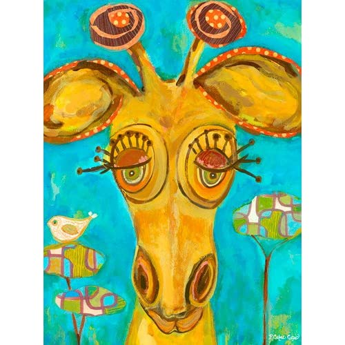 Oopsy Daisy Doe-Eyed Giraffe Stretched Canvas Art by Carter Carpin 18 by 24-Inch