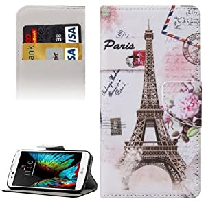 Crazy4Gadget Eiffel Tower Pattern Horizontal Flip Leather Case with Holder & Card Slots & Wallet for LG K10