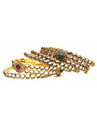 Shingar Jewellery Antique Gold Plated Bangles Kada Churi Kangan Set In Zircon Kundan Stone In 2.10 Size For Women...