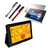 Premium Black Leather case + 2 packs of Clear Screen Protector + 3 packs of Stylus Pen for Acer Iconia Tab A500 10.1-Inch Tablet