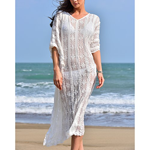 b256084de8 MG Collection White Lace Boho Style Long Swimsuit Coverup / V Neck Beach  Dress