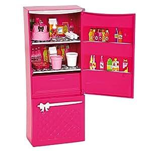 Barbie glam refrigerator girls pretend play for Kitchen set toys amazon