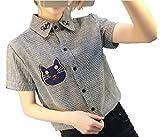 (ハスル) Hasle 半袖 シャツ レディース ストライプ シンプル カジュアル 前開き ボタン 春 夏 S 黒 猫