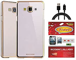 Tidel Golden border Soft Flexible TPU Back Cover for Samsung Galaxy J7 - 6 (New 2016 Edition) - Gold With Tidel Screen Guard & Data Cable