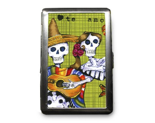 Day of the Dead Skeletons Decorated ID Cigarette Case Wallet - CD285