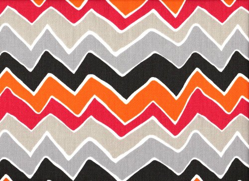 See Saw Chevron Grey Orange Pink Shower Curtain