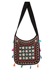 Rajrang Vintage Cotton Embroidered Circles Black Sling Bag