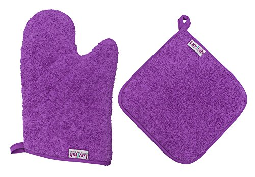 Lavlish Oven Mitt & Pot Holder Set 100% Cotton, Purple (Small Oven Mits compare prices)