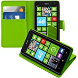 kwmobile Elegante borsa in ecopelle per Nokia Lumia 625 con chiusura magnetica e funzione di supporto in verde