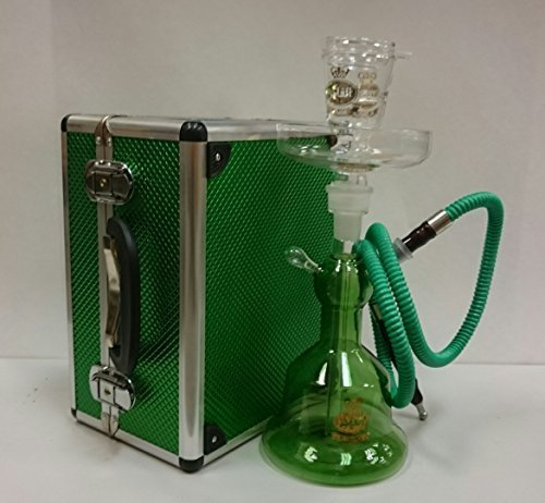 Alfakher Glass Hookah with Metal Case Green by Al-fakher
