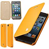 Jisoncase 100% Handmade iPhone 5/5S Premium PU Leather [ Not Compatible with Apple iPhone 6 Air 5C 4S 4 3gs ] Newest Arrival Side Folio Flip Designer Case For iPhone 5 5s With FBA Fast Shipping Case/Shell/Holster/Skin With Fully Protective For iPhone 5 Yellow Color JS-IP5-03H80