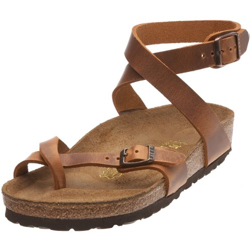 Birkenstock Yara Smooth Leather, Style-No. 13383, Women Thong Sandals, Antique Brown, EU 37, slim width