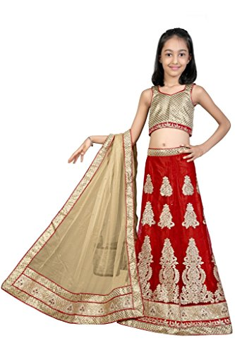 MUTA LITTLE KIDS RED EMBROIDERED 10 AND MORE YEARS DESIGNER KIDS LEHENGA BY MUTA WITH UNSTICHED BLOUSE PIECE