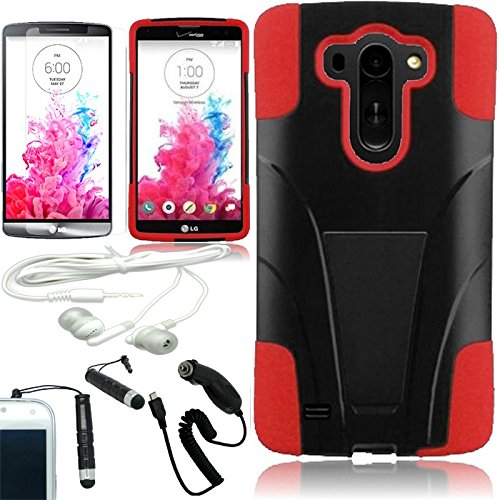 [Arena] Black Red Hybrid T Stand Cover Fitted Hard Gel Case For Lg G Vista Vs880 + Free Arena Accessory Kit