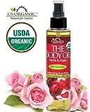 #1 Body & Bath Oil - Romantic Sexy Bulgarian Rose ★ Certified Organic by USDA ★ Jojoba & Avocado Oil w/ Vitamin E ★ No Alcohol, Paraben, Artificial Detergents, Color or Synthetic perfumes ★ 5 Fl.oz.