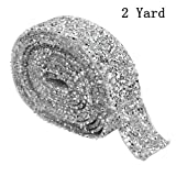 XLX 3cm Wide 2 Yard Acrylic Rhinestone Diamond Ribbon Adhesive Diamond Belt Glue Patch Decorated Diamond Net for Crafts Project Birthday Decorations Baby Shower Events and Arts Furniture Clothing (Color: Silver)