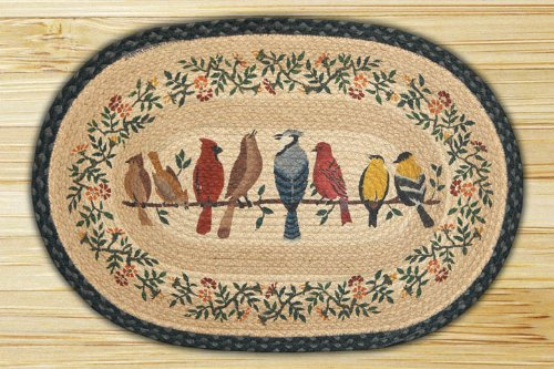 Earth Rugs 90-702 Birds on a Wire Design Oval Rug, 20 by 30