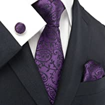 Landisun 18331 Dark Purple Paisleys Mens Silk Tie Set: Tie+Hanky+Cufflinks