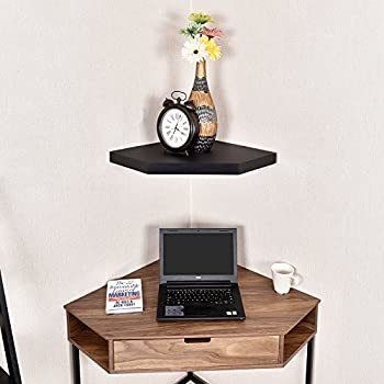WELLAND Phoenix Corner Wall Mount Shelf for DVD Players/Cable Boxes/Games Consoles/TV Accessories, Black