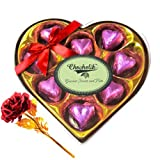 Wonderful Wrapped Chocolates With 24k Red Gold Rose - Chocholik Luxury Chocolates
