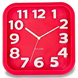 JustNile 3D Modern Contemporary Wall Clock - 12 Square Red