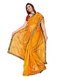 Sehgall Sarees Super Net Saree Attached Brocket Border And Blouse Yellow Saree