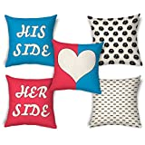 ShopMantra His & Her Design Printed Printed Cushion Cover Set Of 5 Size 16*16 Inch 16*16 Inch