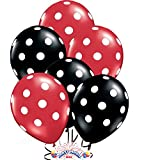 24ct Assorted Red and Black Balloons with White Polka Dots