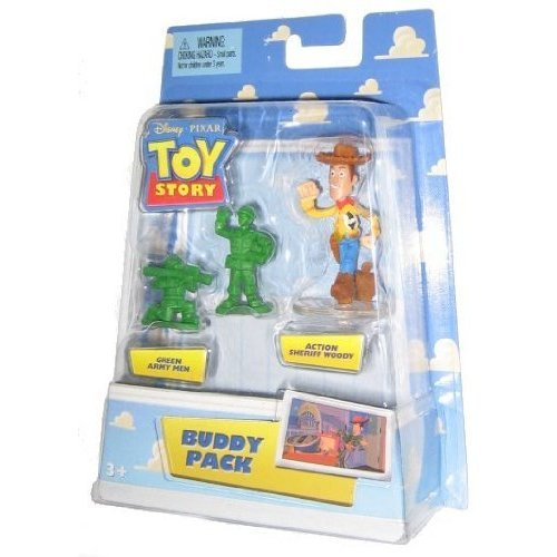 Disney / Pixar Toy Story Mini Figure Buddy Pack Green Army Men and Action Sheriff Woody - 1