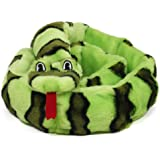 Outward Hound 32069 Invincibles Plush Snake Stuffingless Durable Dog Toys Squeaker Toy 6-Squeakers, Large, Blue Green