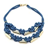 Blue Silk Rope Necklace