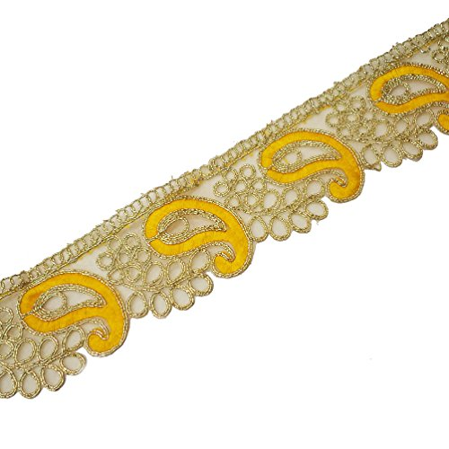 Indian Embroidered Gold Cut Work Trim Saree Border Ribbon Costume Fabric Lace 2.2 Inch Wide By 1 Yard