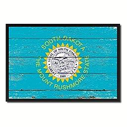 South Dakota State Shabby Chic Flag Art Canvas Print Custom Picture Frame Office Wall Home Decor Gift Ideas, 19\