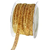 May Arts 3/8-Inch Wide Ribbon Gold Metallic Velvet