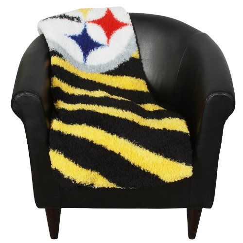 "NFL Pittsburgh Steelers 50-Inch-by-60-Inch Sherpa on Sherpa Throw Blanket ""Strobe"" Design"