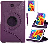 Tab 4 7.0 Case, AiSMei Rotating Case For Samsung Galaxy Tab 4 7.0 SM-T230,SM-T231, SM-T230NU Tablet PC,7-Inch PU Leather Case [Bonus Stylus+Screen Protector] -Purple (Color: Purple, Tamaño: 7 Inch)