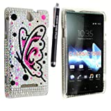 STYLEYOURMOBILE {TM} SONY XPERIA E BUTTERFLY ON SILVER DIAMOND BLING HARD GEM CASE COVER + FREE STYLUS