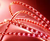 CBConcept® 120VSMD3528-4M-R 13 Feet RED 120 Volt LED SMD3528 Flexible Flat LED Strip Rope Light - [Christmas Lighting - Indoor Outdoor rope lighting - Ceiling Light - kitchen Lighting] [Dimmable] [Ready to use] [3 8 Inch Width x 1 4 Inch Thickness]