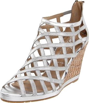 Donald J Pliner Women's Maida2 Wedge Sandal,Silver/Metallic Elastic,5.5 M US