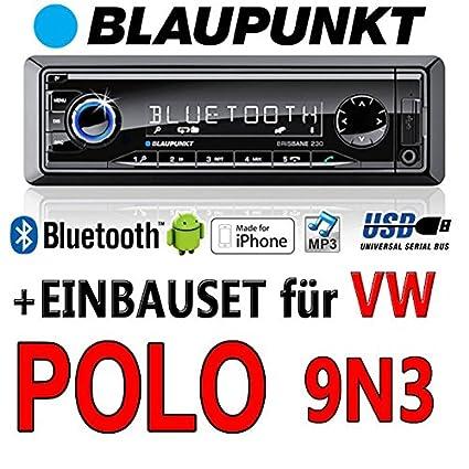 Volkswagen polo 9N3 brisbane bLAUPUNKT - 230/mP3/uSB avec kit de montage autoradio avec bluetooth