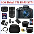 Canon EOS Rebel T5i DSLR Camera with 5 Lenses Professional Bundle: Includes - Canon EF-S 18-55mm STM IS Lens + Canon 55-250mm IS Lens + Canon 50mm 1.8 II Lens + Telephoto & Wide Angle Lenses + Spare Battery + Travel Charger + Camera Bag + Mini HDMI Cable