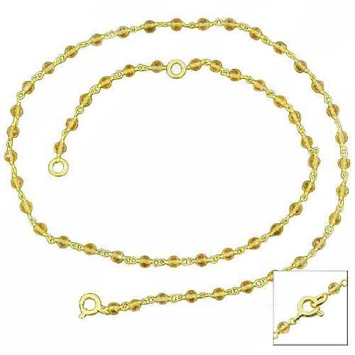 14k Yellow Gold Plated Natural Citrine Gemstone Purity 925 Sterling Silver Beads Strand Necklace 18 Inches Designer New Set