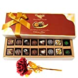 Valentine Chocholik's Belgium Chocolates - Delightful Chocolates And Truffles Treat With 24k Red Gold Rose