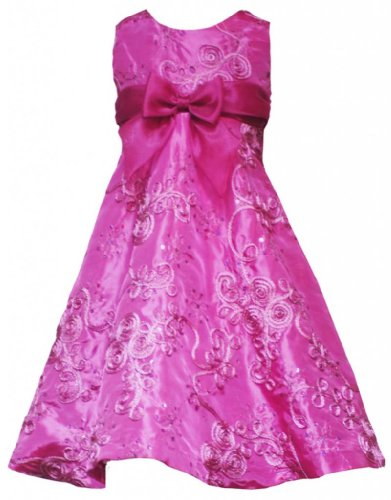Size-12, Fuchsia, Fuchsia-Pink Sequin Soutache Taffeta Dress, Rare Editions Tween Girls 7-16, Special Occasion Flower Girl Party Dress back-1061883