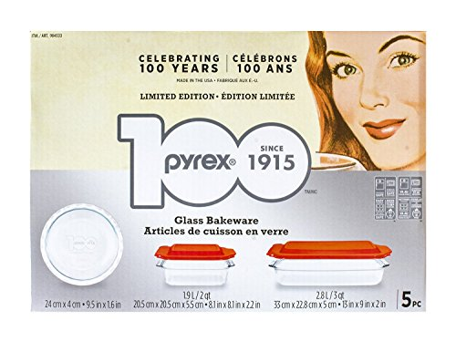 Pyrex 5-piece 100 Years Glass Bakeware Set (Limited Edition) (Pie Dish 5 compare prices)