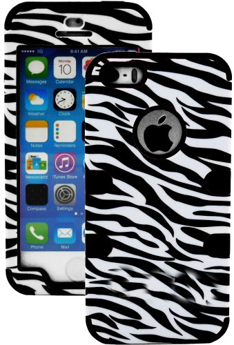 Mylife (Tm) Classic Black - Zebra Stripes Series (Neo Hypergrip Flex Gel) 3 Piece Case For Iphone 5/5S (5G) 5Th Generation Itouch Smartphone By Apple (External 2 Piece Fitted On Hard Rubberized Plates + Internal Soft Silicone Easy Grip Bumper Gel + Lifeti