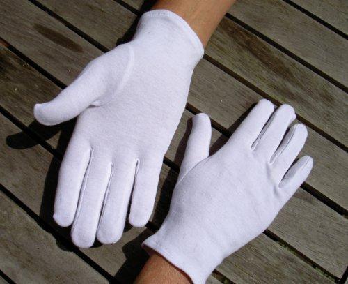 Adulte gant cousu 100% coton doux L - Blanc (lot de 10 paires)
