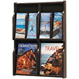 Safco Products 5704MH Expose Literature Display, 4 Magazine 8 Pamphlet, Mahogany/Black