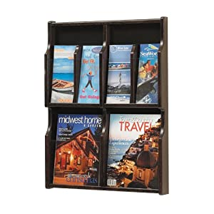 Safco Products Expose 4 Magazine 8 Pamphlet Display, Mahogany/Black, 5704MH